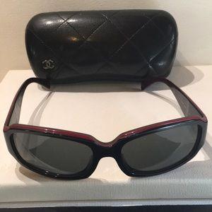 Chanel sunglasses 5144, black w/red trim.  Used